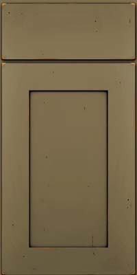 Square Recessed Panel - Solid (DRHC) Cherry in Vintage Sage w/Onyx Patina - Base
