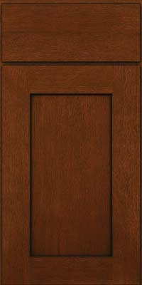 Square Recessed Panel - Solid (AB2O) Quartersawn Oak in Autumn Blush w/Onyx Glaze - Base