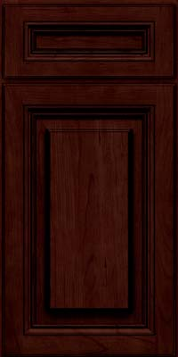 Square Raised Panel - Solid (HLC) Cherry in Cabernet w/Onyx Glaze - Base