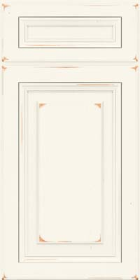 Square Raised Panel - Solid (HLC) Cherry in Vintage Dove White - Base