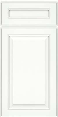 Square Raised Panel - Solid (LCM) Maple in Dove White w/ Cinder Glaze - Base