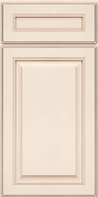 Square Raised Panel - Solid (LCM) Maple in Dove White w/Cocoa Glaze - Base