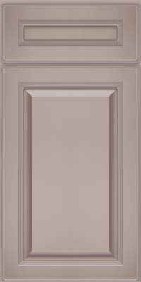 Square Raised Panel - Solid (LCM) Maple in Pebble Grey w/ Cocoa Glaze - Base