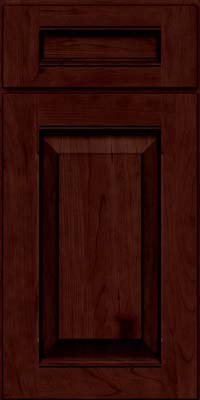 Square Raised Panel - Solid (LWB) Rustic Cherry in Cabernet w/Onyx Glaze - Base