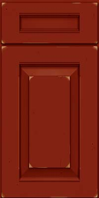 Square Raised Panel - Solid (LWB) Rustic Cherry in Vintage Cardinal - Base