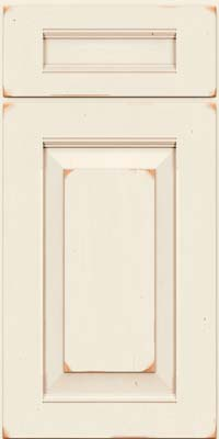 Square Raised Panel - Solid (LWB) Rustic Cherry in Vintage Dove White w/Cocoa Patina - Base