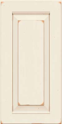 Square Raised Panel - Solid (LWB) Rustic Cherry in Vintage Dove White w/Cocoa Patina - Wall