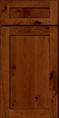 Square Recessed Panel - Veneer (AC7C) Rustic Cherry in Antique Chocolate w/Mocha Glaze - Base