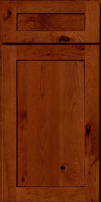 Square Recessed Panel - Veneer (AC7C) Rustic Cherry in Cinnamon w/Onyx Glaze - Base
