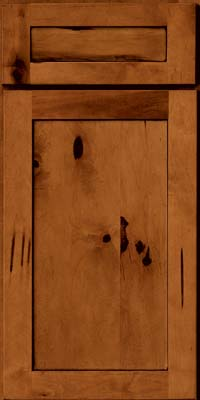 Square Recessed Panel - Veneer (AC7M) Rustic Maple in Cinnamon w/Onyx Glaze - Base