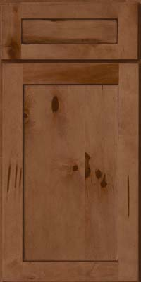 Square Recessed Panel - Veneer (AC7M) Rustic Maple in Rye w/Sable Glaze - Base