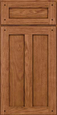 Square Recessed Panel - Veneer (MKO) Oak in Ginger w/Sable Glaze - Base
