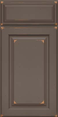 Arch Raised Panel - Solid (PWC) Cherry in Vintage Greyloft w/ Sable Patina - Base