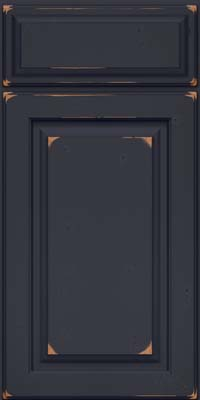 Square Raised Panel - Solid (MTC) Cherry in Vintage Midnight w/ Onyx Patina - Base