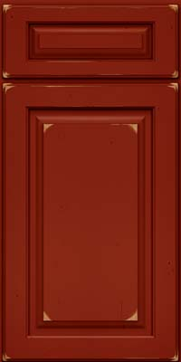 Square Raised Panel - Solid (MTC) Cherry in Vintage Cardinal - Base