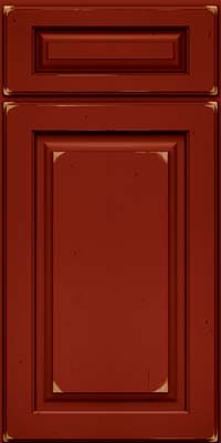 Arch Raised Panel - Solid (PWC) Cherry in Vintage Cardinal w/Onyx Patina - Base