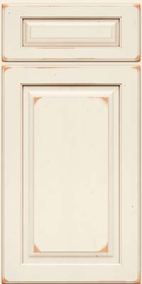 Arch Raised Panel - Solid (PWC) Cherry in Vintage Dove White w/Cocoa Patina - Base