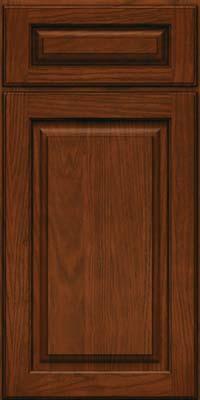 Square Raised Panel - Solid (MTO) Oak in Autumn Blush w/Onyx Glaze - Base