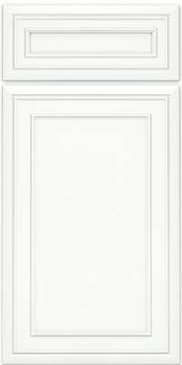 Square Recessed Panel - Veneer (NBM) Maple in Dove White w/ Cinder Glaze - Base
