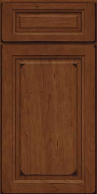 Square Raised Panel - Solid (PK) Cherry in Burnished Chocolate - Base