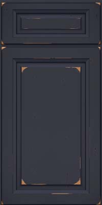 Square Raised Panel - Solid (PK) Cherry in Vintage Midnight w/ Onyx Patina - Base