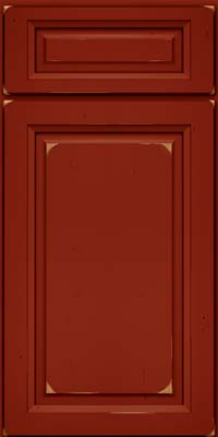 Square Raised Panel - Solid (PK) Cherry in Vintage Cardinal - Base