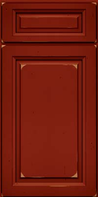Square Raised Panel - Solid (PK) Cherry in Vintage Cardinal w/Onyx Patina - Base
