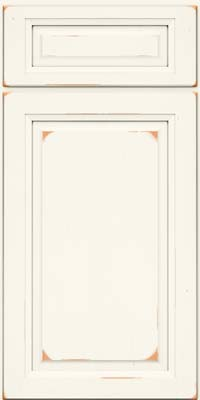 Square Raised Panel - Solid (PK) Cherry in Vintage Dove White - Base