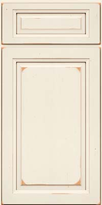 Square Raised Panel - Solid (PK) Cherry in Vintage Dove White w/Cocoa Patina - Base