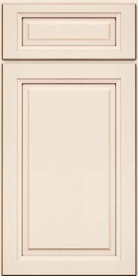 Square Raised Panel - Solid (PKM) Maple in Dove White w/Cocoa Glaze - Base
