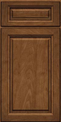 Square Raised Panel - Solid (PKM) Maple in Rye w/Onyx Glaze - Base