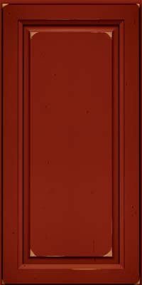 Square Raised Panel - Solid (PK) Cherry in Vintage Cardinal w/Onyx Patina - Wall