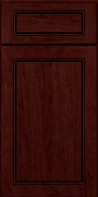 Square Raised Panel - Solid (PVC) Cherry in Cabernet w/Onyx Glaze - Base