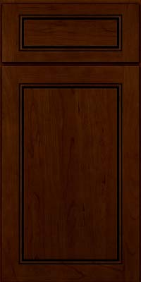 Square Raised Panel - Solid (PVC) Cherry in Chocolate w/Ebony Glaze - Base