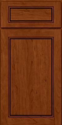 Square Raised Panel - Solid (PVC) Cherry in Cinnamon w/Onyx Glaze - Base
