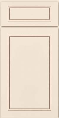 Square Raised Panel - Solid (PVM) Maple in Dove White w/Cocoa Glaze - Base