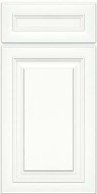 Square Raised Panel - Solid (RTM) Maple in Dove White w/ Cinder Glaze - Base