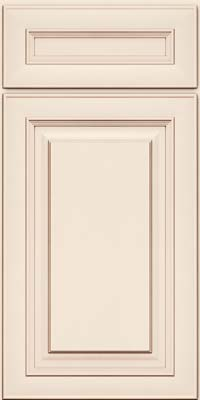 Square Raised Panel - Solid (RTM) Maple in Dove White w/Cocoa Glaze - Base