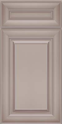 Square Raised Panel - Solid (RTM) Maple in Pebble Grey w/ Cocoa Glaze - Base