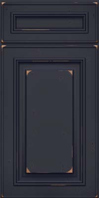 Square Raised Panel - Solid (AA0C) Cherry in Vintage Midnight w/ Onyx Patina - Base