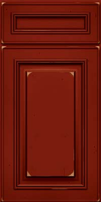 Square Raised Panel - Solid (AA0C) Cherry in Vintage Cardinal w/Onyx Patina - Base