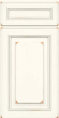 Square Raised Panel - Solid (AA0C) Cherry in Vintage Dove White - Base
