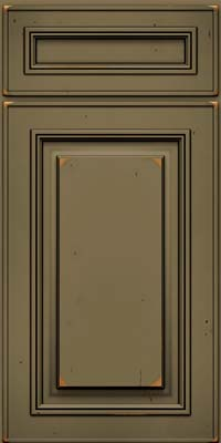 Square Raised Panel - Solid (AA0C) Cherry in Vintage Sage w/Onyx Patina - Base