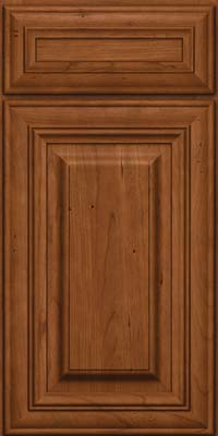 Square Raised Panel - Solid (AA1C) Cherry in Antique Chocolate w/Mocha Glaze - Base