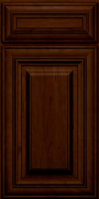 Square Raised Panel - Solid (AA1C) Cherry in Chocolate w/Ebony Glaze - Base