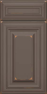 Square Raised Panel - Solid (AA1C) Cherry in Vintage Greyloft w/ Sable Patina - Base