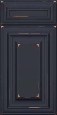 Square Raised Panel - Solid (AA1C) Cherry in Vintage Midnight w/ Onyx Patina - Base