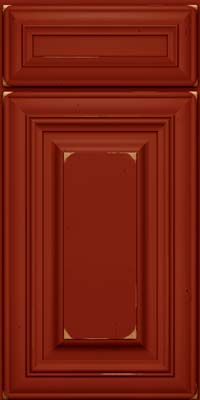 Square Raised Panel - Solid (AA1C) Cherry in Vintage Cardinal - Base