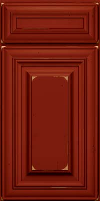Square Raised Panel - Solid (AA1C) Cherry in Vintage Cardinal w/Onyx Patina - Base