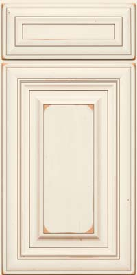 Square Raised Panel - Solid (AA1C) Cherry in Vintage Dove White w/Cocoa Patina - Base